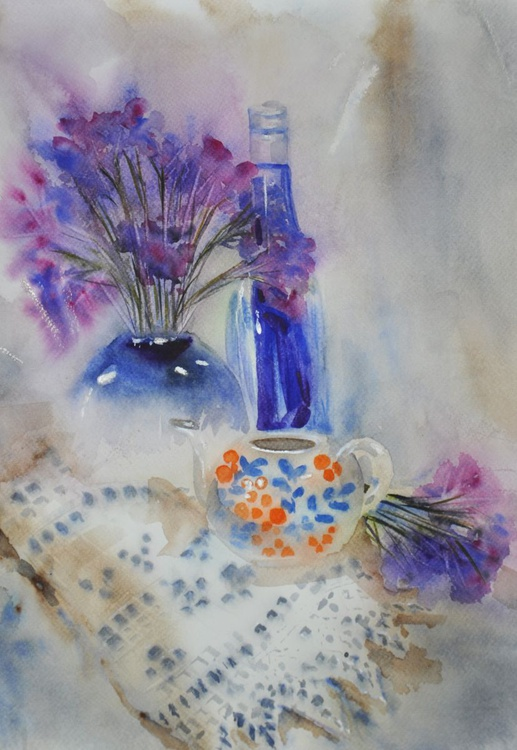 Still life with ultramarine bottle - Image 0