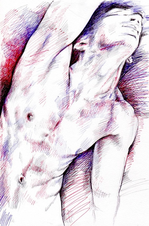 study of the human body, male nude - Image 0