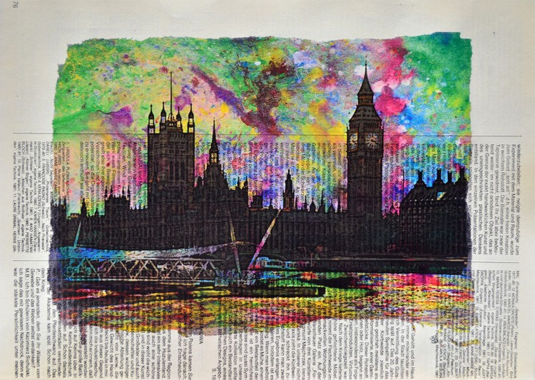 Abstract Big Ben On Vintage Paper - Image 0