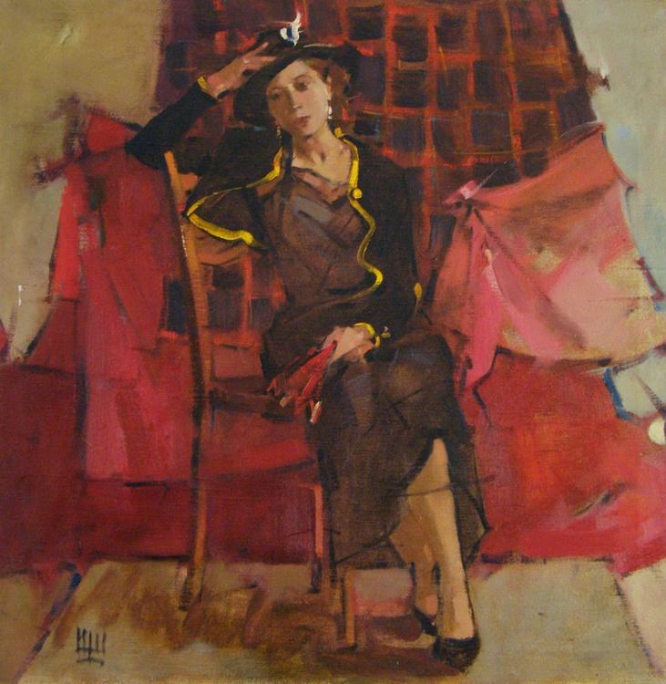 The portrait of model. oil on canvas. 75x75cm. - Image 0