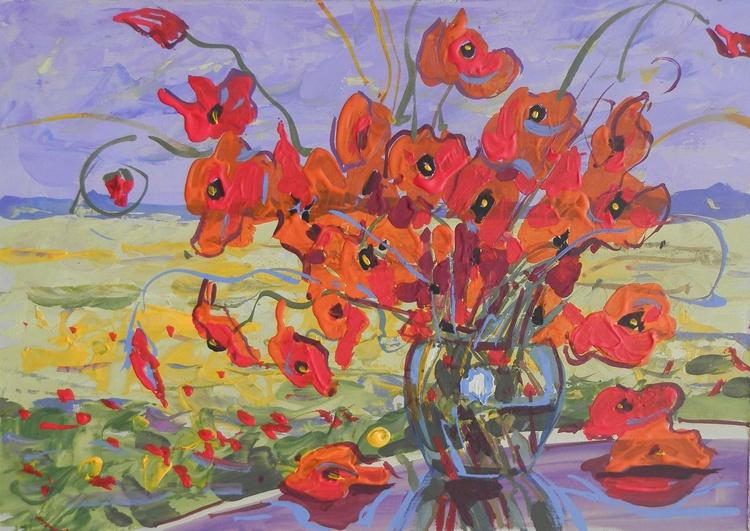 poppies. original painting 30x21 cm - Image 0
