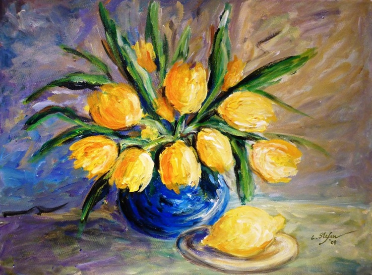 Yellow Tulips in a Blue Vase and Lemon - Image 0
