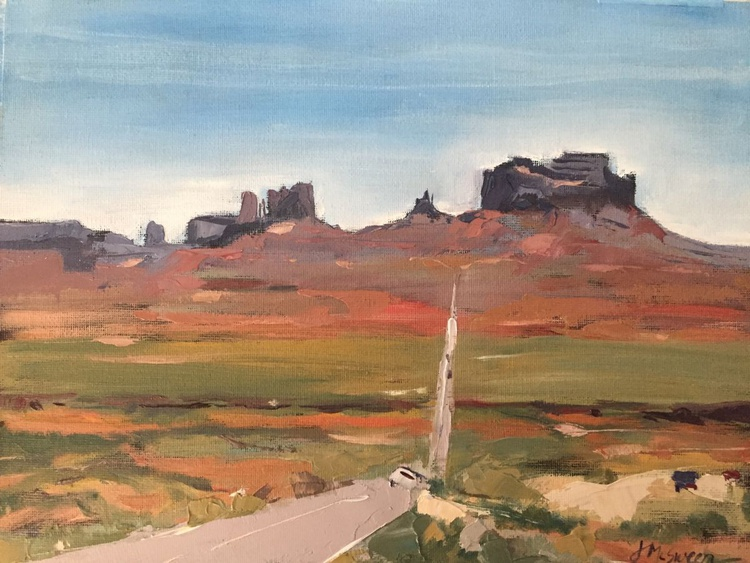 Into Monument Valley Oil Landscape Southwestern Painting Utah Scenery - Image 0