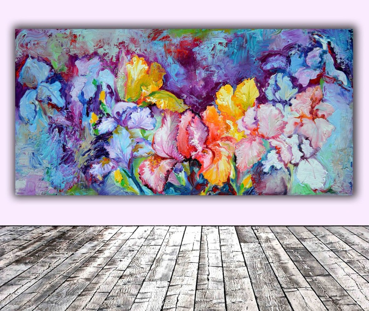 Iris Field - Big, Large Modern Ready to Hang Painting - Flower Oil Painting, Floral painting - Image 0