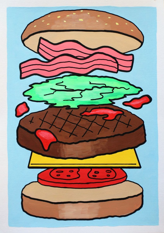 'Burger Deconstructed' Pop Art Painting On A4 Paper - Image 0