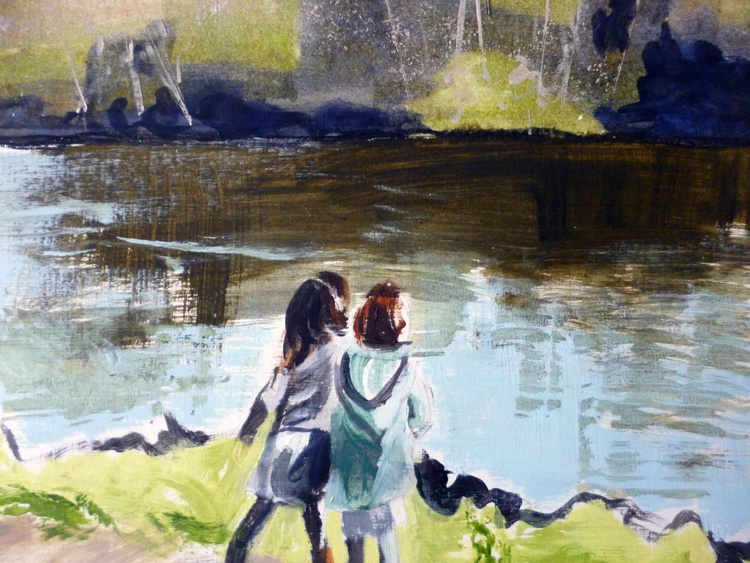 Two girls at the pond - Image 0