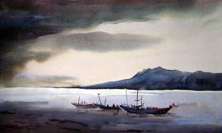 Storm & Fishing Boat - Watercolor painting