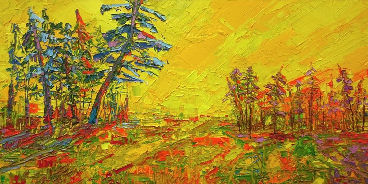 Amber Meadow - Modern Impressionist Oil painting Palette Knife work - Image 0