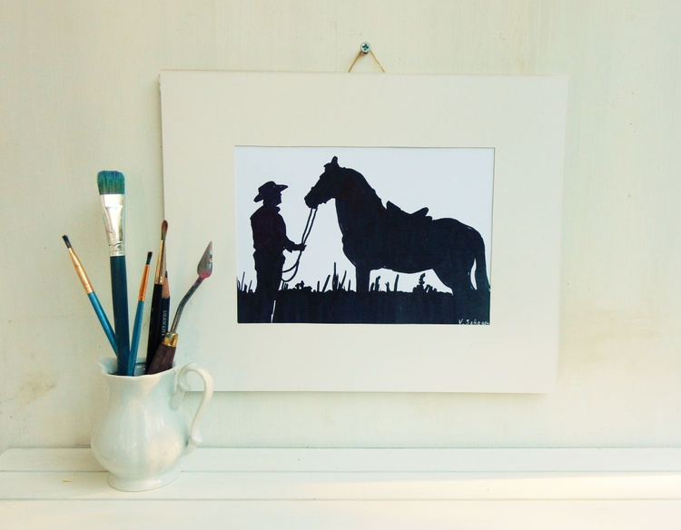Men,Cowboy and horse. Silhouette. Black and White drawing. - Image 0