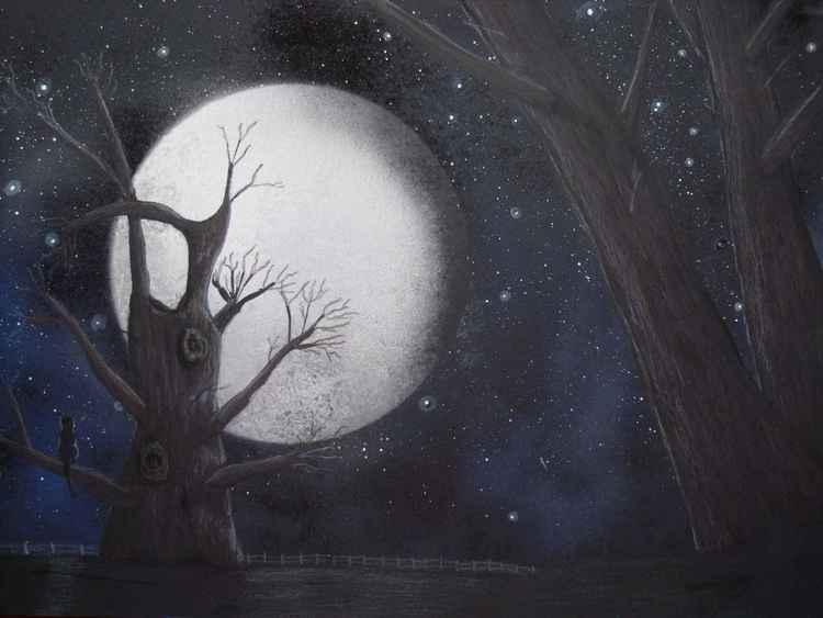 Old Oak Tree in the Moonlight -