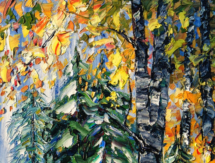 Deep in the Woods ( PALETTE KNIFE Oil Painting On Canvas ) - Image 0