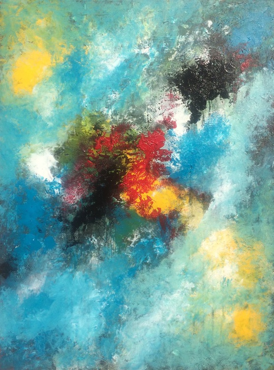 """""""Destination"""" ,  Abstract Acrylic Painting - 24x32 inches - Image 0"""