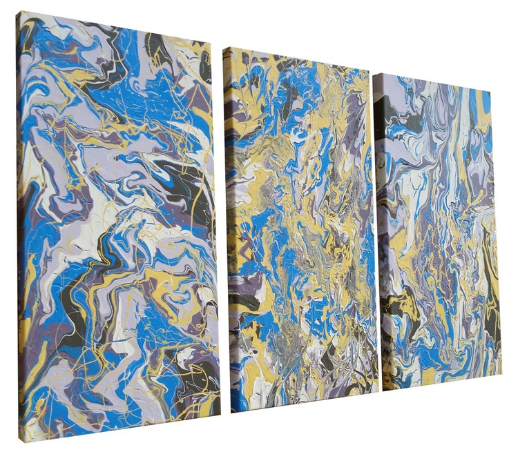 FREE FLOW Abstract Triptych Painting - Image 0