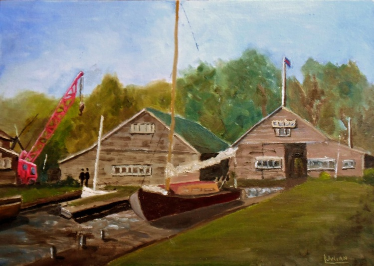 Boats for Hire at Hunters Yard, Ludham Norfolk. An original Oil Painting on Board - Image 0