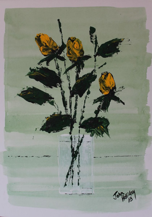 Yellow Roses in vase. - Image 0