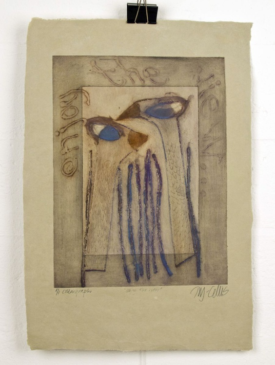 enjoy the view, collagraph on handmade paper - Image 0