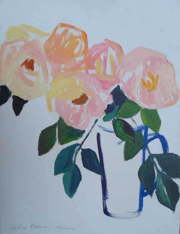 Wild roses in the blue jug -
