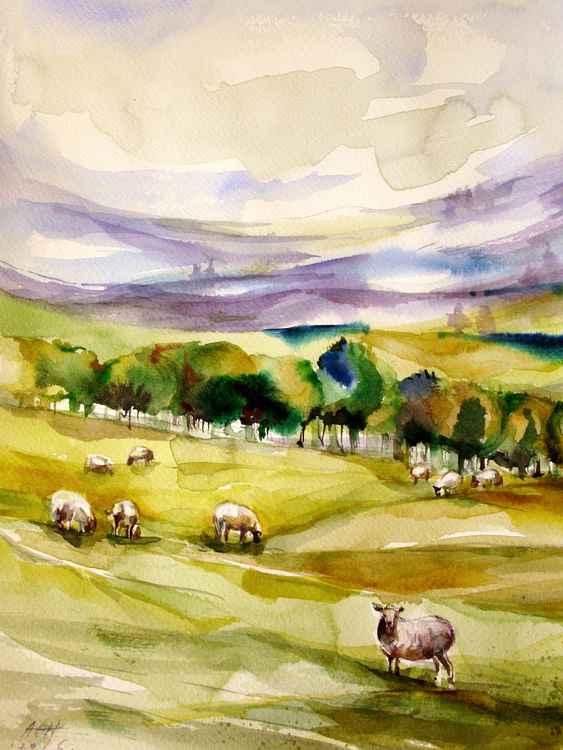 Wales sheep landscape painting original signed