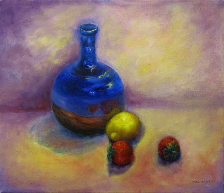 Blue Pot and Strawberries - Image 0