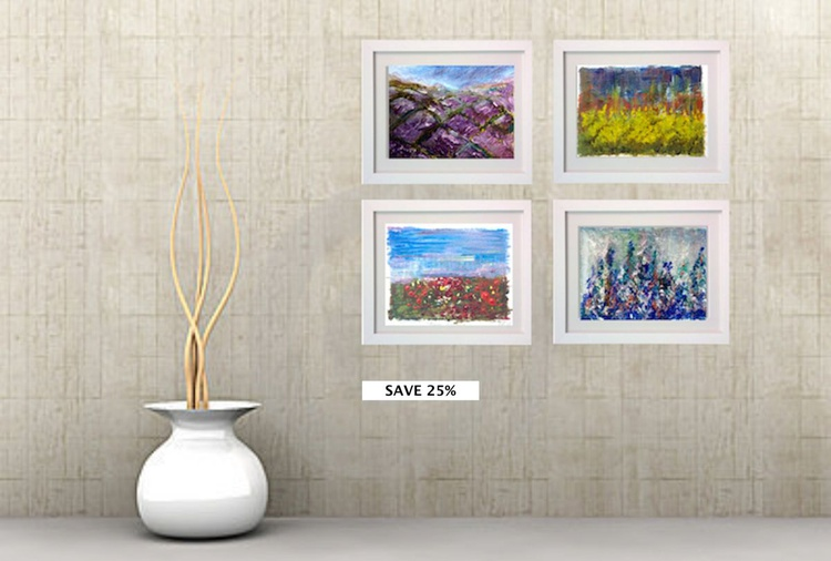 4 x A5 Abstract Landscape Unframed Collection- 25% off for Worldwide Delivery - Image 0