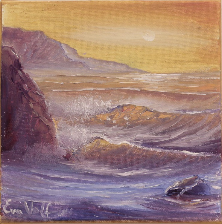 """Ocean Waves IX 6x6"""" small seascape oil painting on deep canvas - Image 0"""