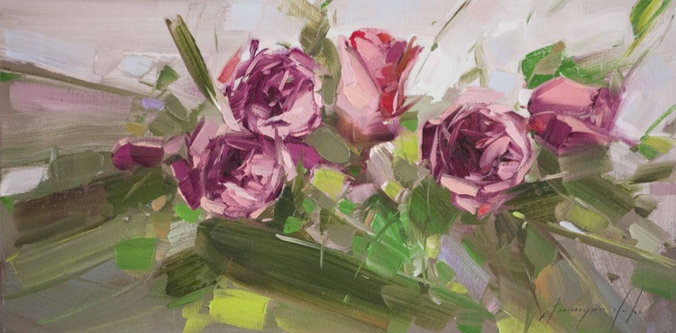 Roses Handmade oil Painting on Canvas One of a kind - Image 0