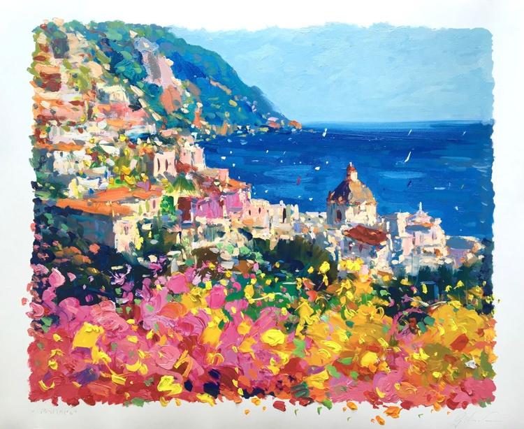 Seascape Positano Artwork, Amalfi Italy Art, Sea Art, Flowers Wall Art, Beach Home Decor, Living Room Decor, Bedroom Decor,  Wall Art, Seascape Art,Gift for Her, Gift for Mom, Gift for wife, Christmas Gift - Image 0