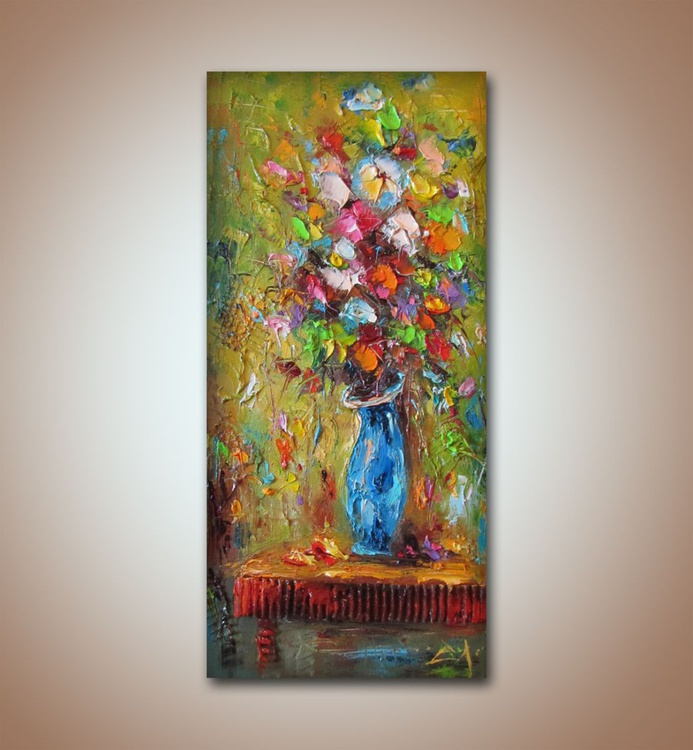 Color vibrations , Modern flower paintings, Textured art, Free shipping - Image 0
