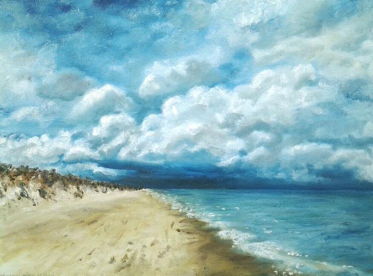 """BEACH SCENE"", Oil, 40x30cm, ready to hang - Image 0"