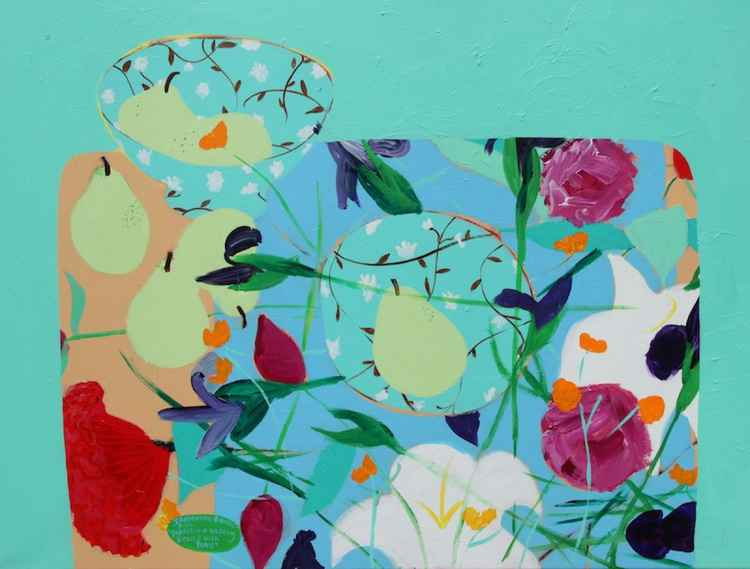 'Tabletop Fruit & Flowers'  Acrylic on Canvas Painting. -