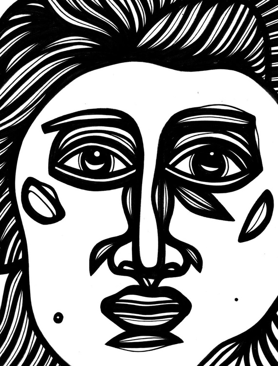 Redolent Stare Face Original Drawing - Image 0
