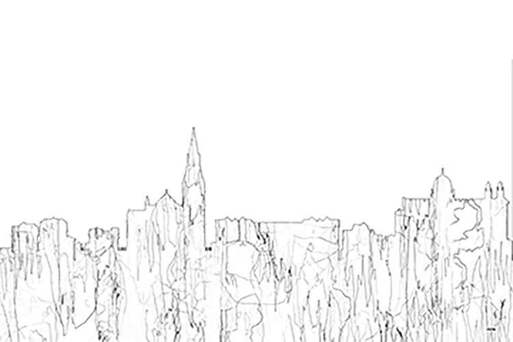 Galway, Ireland Skyline - BW - Thin Line -