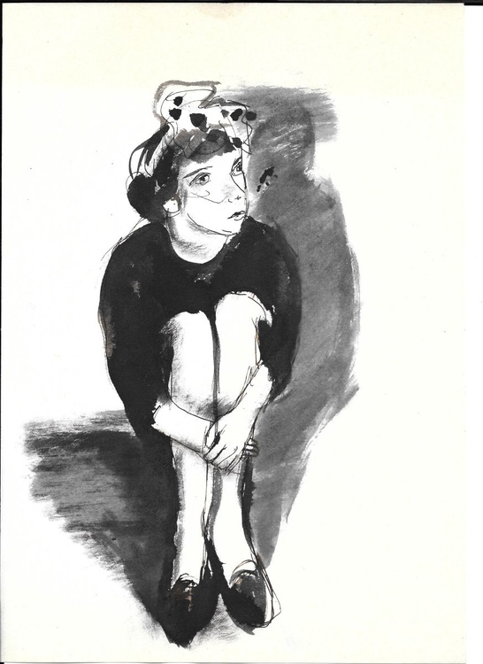 Girl sitting on the floor, 21x29 cm - Image 0