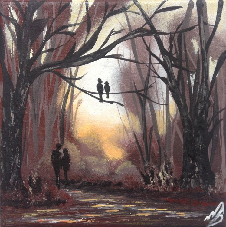 Love birds in the woods - Image 0