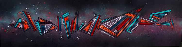 Deep Space 1 - An abstract geometric graffiti space painting in spray paint & acrylic.