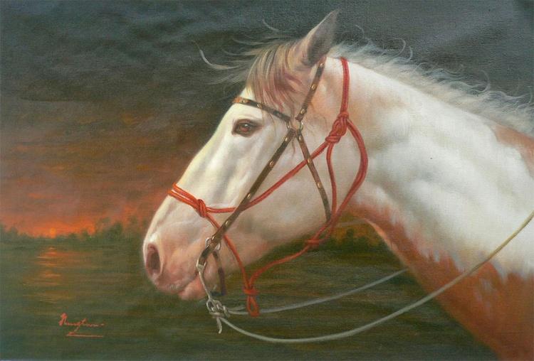ORIGINAL OIL PAINTING ANIMAL ART HORSE  IN THE SUNSET ON LINEN #16-10-2-05 - Image 0