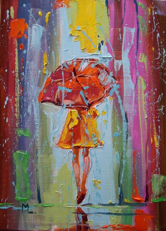 """ FIRST SPRING RAIN 1 ""  ABSTRACT original OIL painting CITY palette knife GIFT MODERN URBAN ART OFFICE ART DECOR HOME DECOR GIFT IDEA - Image 0"