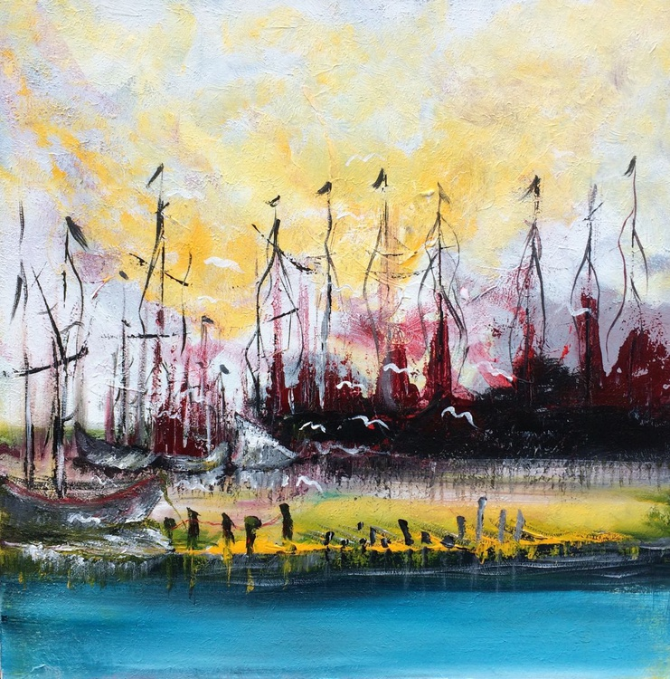 """Harbor"" ,  20x20inches / 50x50cm - Acrylic Painting // original painting - Image 0"