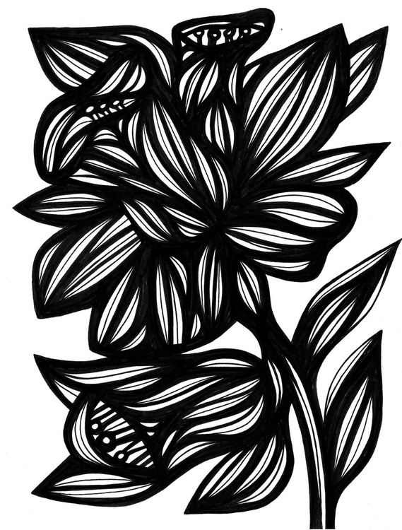 Efficacious Florals Original Drawing - Image 0