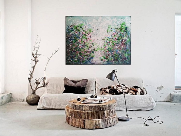 47,2'' x 35''(120x90cm), Serenity 3,  extra large abstract painting, urban art, large canvas art,  green shades - Image 0
