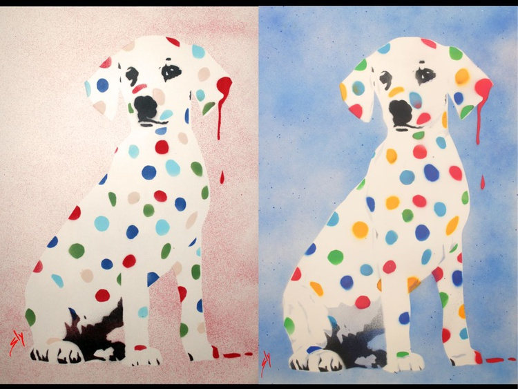 His and Hers Damien's Dotty, Spotty, Puppy Dawg (On plain paper)+ Free Poem 2 Paintings only £59 instead of £90. - Image 0