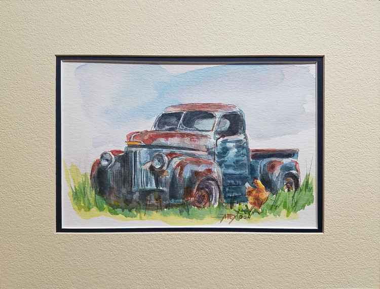 An Old Truck And A Chicken -