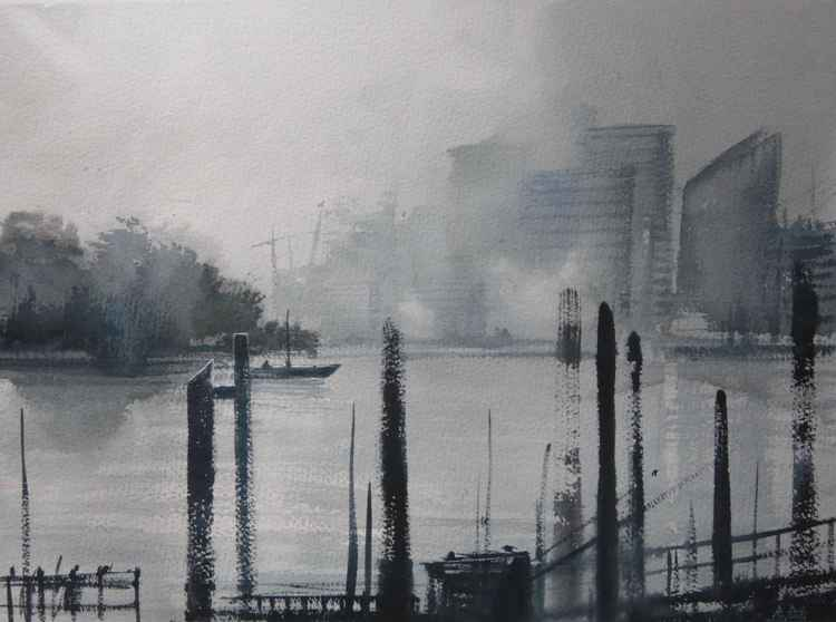 Greenwich, River Thames. Watercolour
