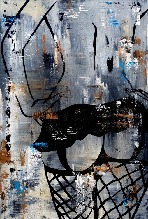 Seven - Original Abstract painting Modern Home Decor Canvas Wall Art Faces by Fidostudio - Image 0