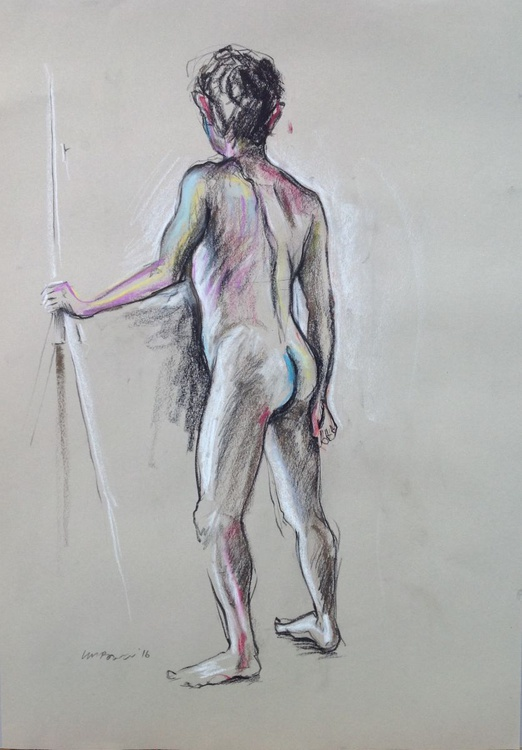 Male nude standing with Easel, A2 soft pastel life drawing #15 - Image 0