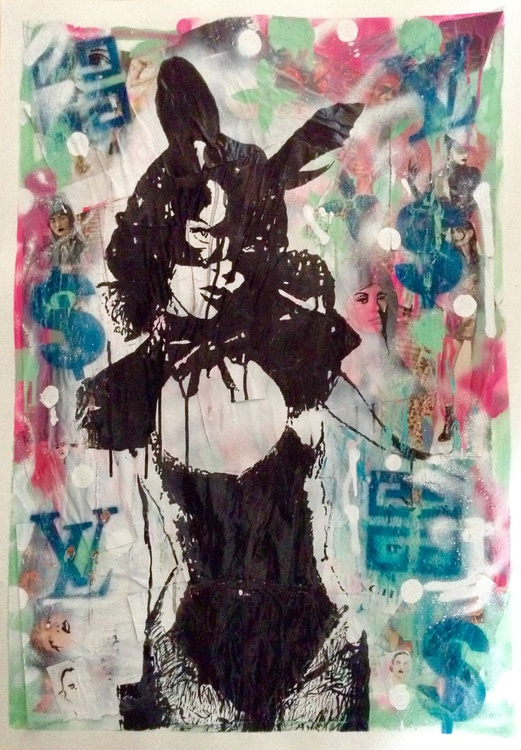 """Designer Bunny Girl"" - mixed media painting - Image 0"