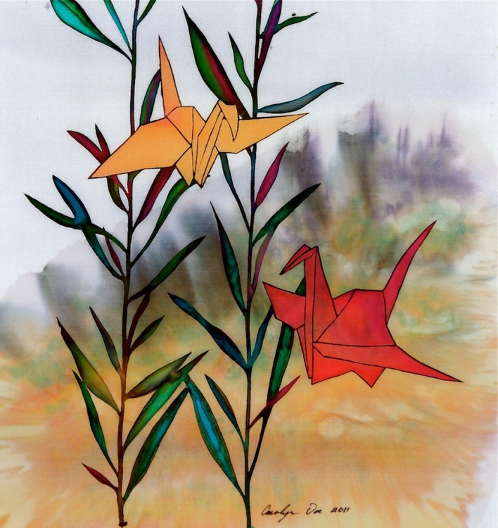 Paper Cranes batik on silk fabric - Image 0