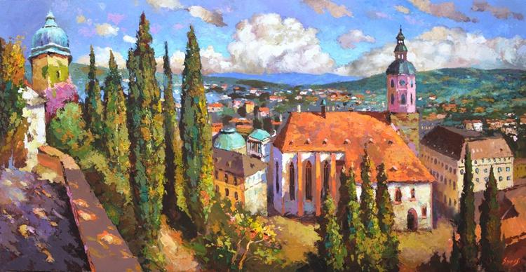 Summer evening in Baden-Baden - Oil painting by Dmitry Spiros. 60cm x 122 cm - Image 0