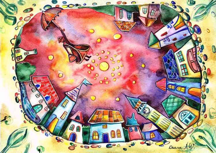 """ Mary Poppins "" Original painting, fantasy, gift idea."