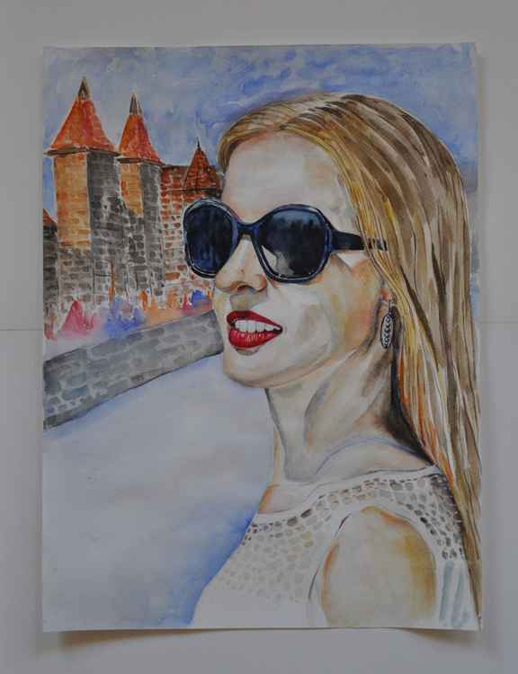 Original one of a kind watercolor artwork - The blonde girl in sunglasses